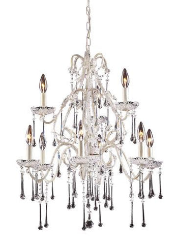 ELK Lighting Lighting 4003-6+3Cl Nine Light Chandelier In Antique White And Clear Crystal - PeazzLighting