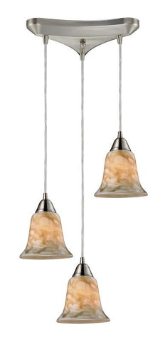 ELK Lighting Confections/Nougat 3- Light Pendant In Satin Nickel - 31130/3NG - PeazzLighting