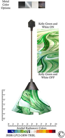 Jezebel Radiance® Lily Track Lighting Pendant Small. Hardware: Brown. Glass: Kelly Green and White - PeazzLighting