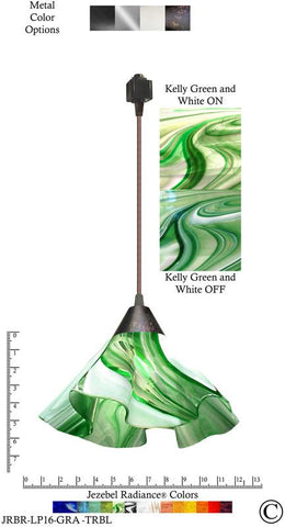 Jezebel Radiance® Lily Track Lighting Pendant Large. Hardware: Brown. Glass: Kelly Green and White - PeazzLighting