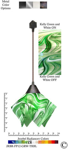 Jezebel Radiance® Flame Track Lighting Pendant Small. Hardware: Brown. Glass: Kelly Green and White - PeazzLighting
