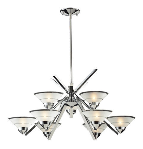 ELK Lighting Lighting 1476-6+3 Nine Light Chandelier In Polished Chrome And Etched Clear Glass - Peazz.com
