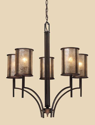 ELK Lighting Lighting 15035-5 Barringer Five Light Chandelier In Aged Bronze And Tan Mica Shades - PeazzLighting