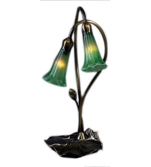 Meyda Tiffany 13481 Green Pond Lily Two Light Accent Lamp