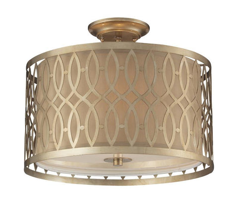 ELK Lighting Estonia 3- Light Semi-Flush In Aged Silver - 31122/3 - PeazzLighting