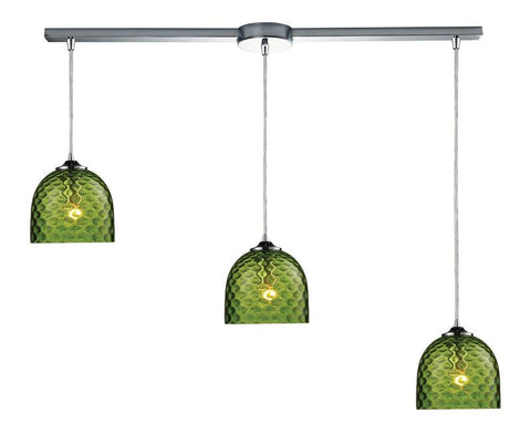 ELK Lighting Viva Viva 3-Light Green Pendant In Polished Chrome - 31080/3L-GRN - PeazzLighting