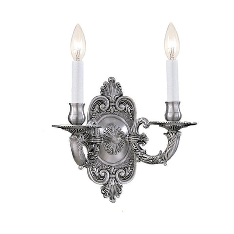 Crystorama 642-PW 2-Lights Traditional Antique Pewter Wall Sconce - Pewter - PeazzLighting