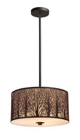 ELK Lighting 31074-3 Woodland Sunrise Three Light Pendant In Aged Bronze - PeazzLighting