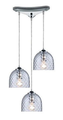 ELK Lighting 31080-3Clr Viva Three Light Clear Pendant In Polished Chrome - PeazzLighting