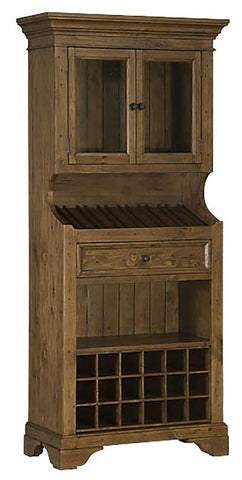 Hillsdale Furniture 5225-931W Tuscan Retreat® Tall Slanted Wine Rack with 2 Glass Doors on Top and Bottom Wine Cubby - HillsdaleSuperStore