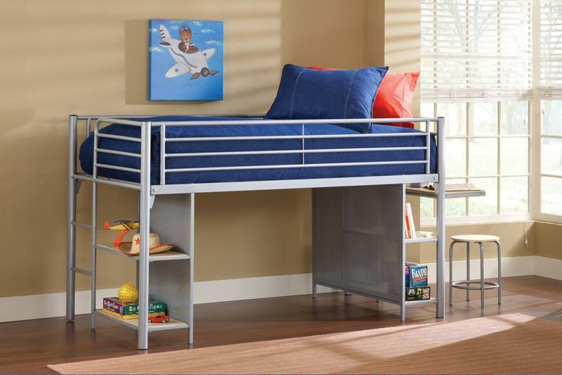 Hillsdale 1178JRLBDS Universal Junior Loft Bed w/Cloth Doors, Desk, and Stool