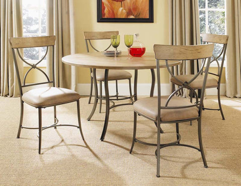 Hillsdale 4670DTBC2 Charleston 5-Piece Round All Metal Base w/Wood Top and X-Back Chairs - HillsdaleSuperStore
