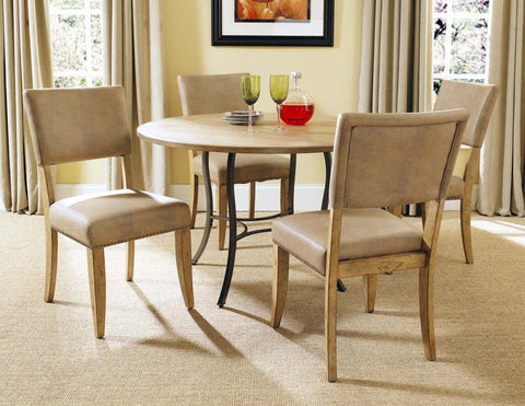 Hillsdale 4670DTBC4 Charleston 5-Piece Round All Metal Base w/Wood Top and Parson Chairs - HillsdaleSuperStore