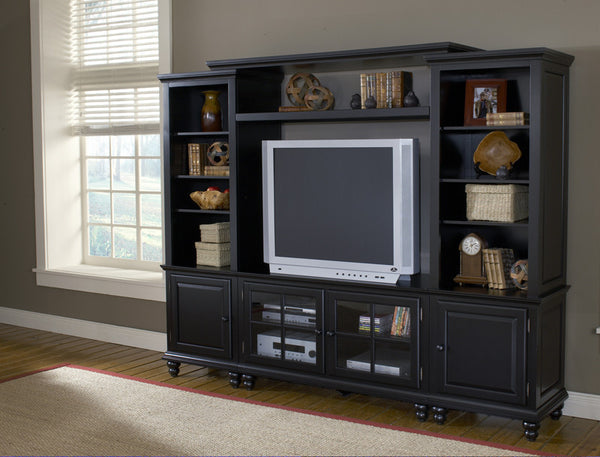 Hillsdale grand bay small entertainment wall unit in black for Bedroom entertainment center