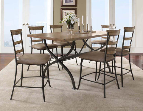 Hillsdale 4670CTBRS57 Charleston 7-Piece Counter Height Rectangle Wood Dining Set w/Ladder Back Stool - HillsdaleSuperStore