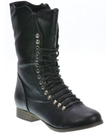 Georgia-34 Scallop Edge Lace Up Mid Calf Combat Boot - Peazz.com