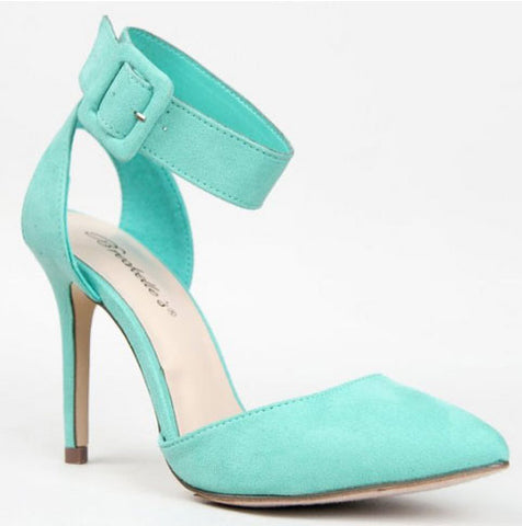 Mavis-03 Pointy Toe Single Sole High Heel Ankle Strap Pump - Peazz.com