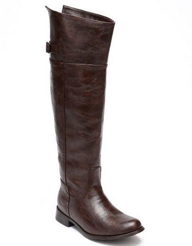 Rider-82 Crinkle Leatherette Round Toe Riding High Boot