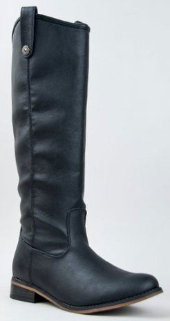 Rider-18 Knee High Stacked Heel Basic Riding Boot - Peazz.com