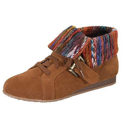 Mayday-01 Fold Down Knitted Cuff Lace Up Suede Ankle Sneaker - Peazz.com