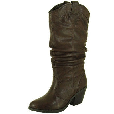 Muse-01 Western Cowboy Slouchy Knee High Boot - Peazz.com