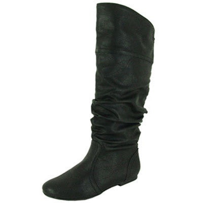 Neo-144 Classic Basic Casual Slouchy PU Flat Knee High Boot - Peazz.com