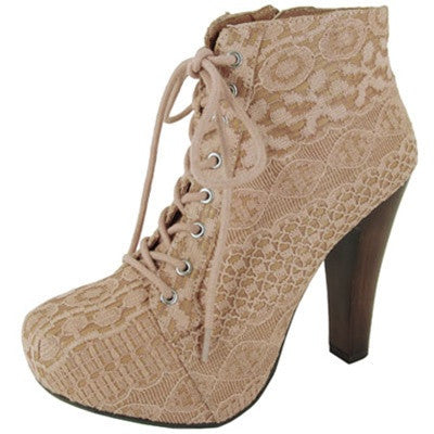 Puffin-39 Lace Chunky Heel Ankle Boot - Peazz.com