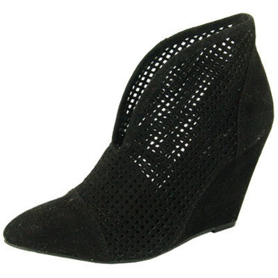 Maddox-11 Perforated Pointy Toe Wedge Bootie - Peazz.com