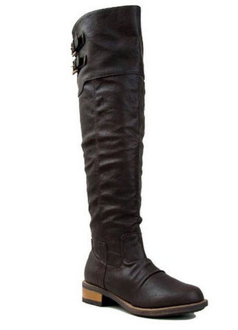 Relax-01X Women's Basic Casual Knee High Buckle Riding Boot - Peazz.com
