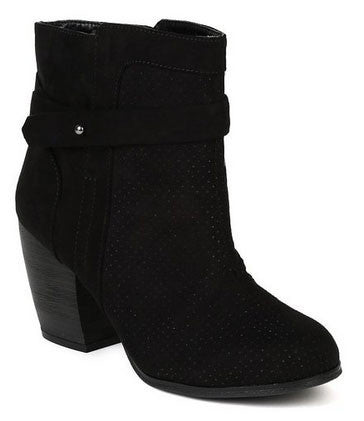 Suede Maze-34 Perforated Round Toe Chunky Heel Ankle Bootie - Peazz.com