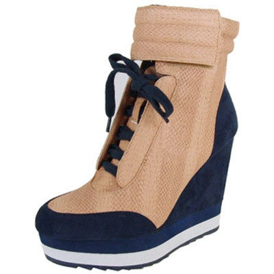 Westwood-01 Two Tone High Top Lace Up Wedge Sneaker - Peazz.com
