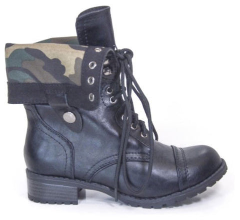 Oralee Foldable Military Combat Laced Up Boot - Peazz.com