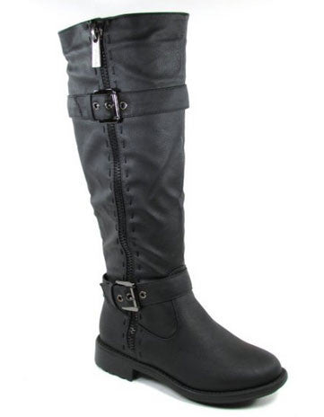 Fab-5 Knee High Buckle Riding Boot - Peazz.com
