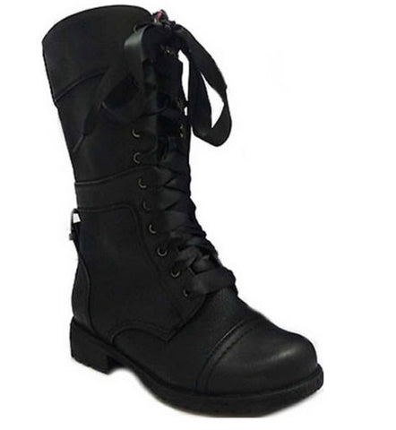 Timberly-43 Floral Cuff Lace Up Combat Boots - Peazz.com