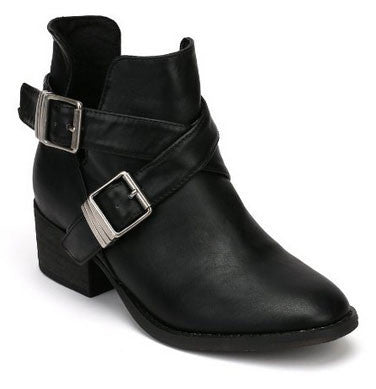 Bronco-11 Leatherette Designer Cut Out Round Toe Ankle Bootie - Peazz.com
