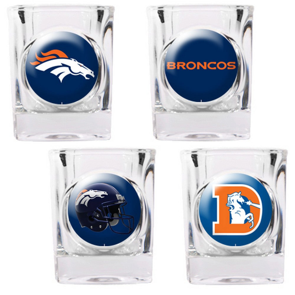 Denver Broncos 4pc Collector's Shot Glass Set