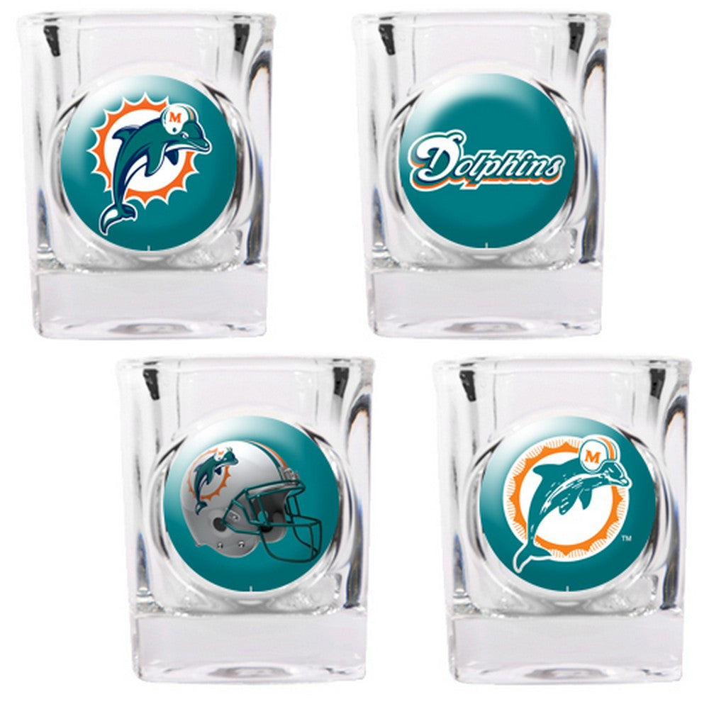 Miami Dolphins 4pc Collector's Shot Glass Set BSI-41133
