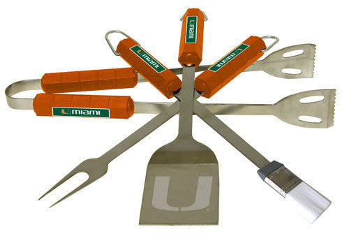 Miami Hurricanes 4 Pc Bbq Set
