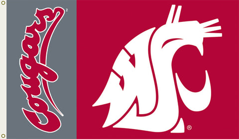 Washington State Cougars 3 Ft. X 5 Ft. Flag W/Grommets - Peazz.com