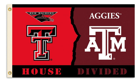 Texas Tech - Texas A & M 3 Ft. X 5 Ft. Flag W/Grommets - Rivalry House Divided - Peazz.com