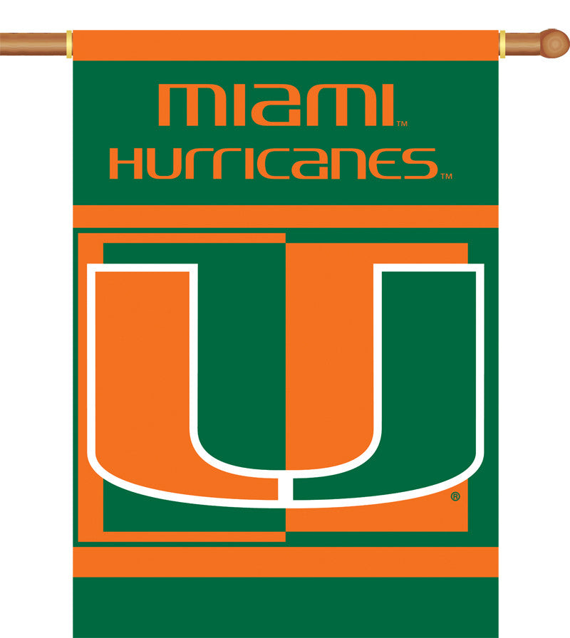 """Miami Hurricanes 2-Sided 28"""" X 40"""" Banner W/ Pole Sleeve"""