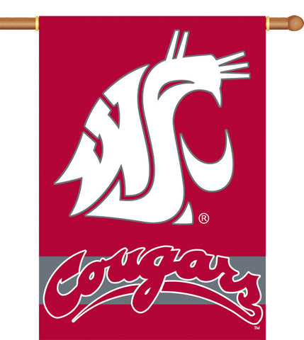 "Washington State Cougars 2-Sided 28"" X 40"" Banner W/ Pole Sleeve - Peazz.com"