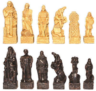 Celtic Chess Set Pieces - SAC Antique Finish - Peazz.com