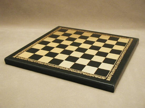 "10 1/2"" Pressed Leather Chess Board, Black and Gold, 1"" Square - Peazz.com"