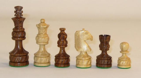 "Sheesham Royal Plus Carved Chess Pieces, Double Weighted and Felted, 4"" King - Peazz.com"