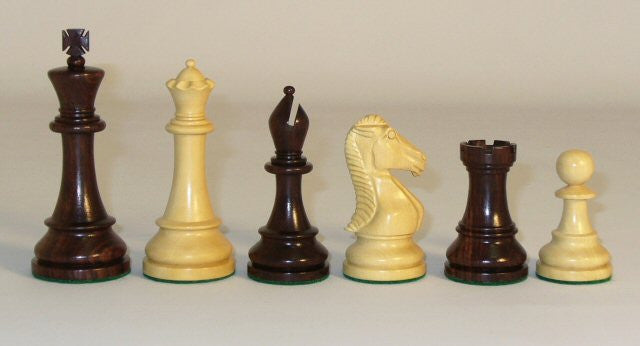 "Rosewood And Boxwood Chess Pieces Double Weighted And Felted, 4"" King"
