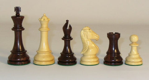 "Rosewood and Boxwood Chess Pieces Double Weighted and Felted, 4"" King - Peazz.com"