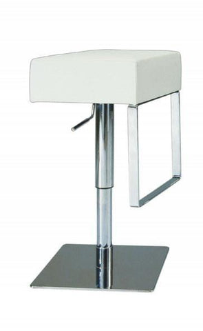 "Chintaly 0811-AS-WHT Pneumatic Gas Lift Adjustable Height Swivel Stool - 21"" - 29"" - BarstoolDirect.com"