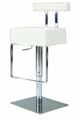 "Chintaly 0812-AS-WHT Pneumatic Gas Lift Adjustable Height Swivel Stool - 21"" - 29"" - BarstoolDirect.com"