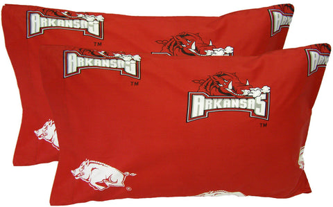 Arkansas Printed Pillow Case - (Set of 2) - Solid - ARKPCSTPR by College Covers - Peazz.com